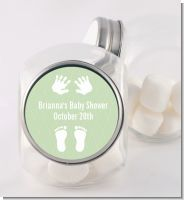 Baby Feet Pitter Patter Neutral - Personalized Baby Shower Candy Jar