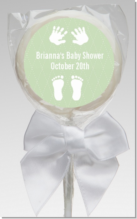 Baby Feet Pitter Patter Neutral - Personalized Baby Shower Lollipop Favors