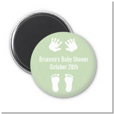 Baby Feet Pitter Patter Neutral - Personalized Baby Shower Magnet Favors