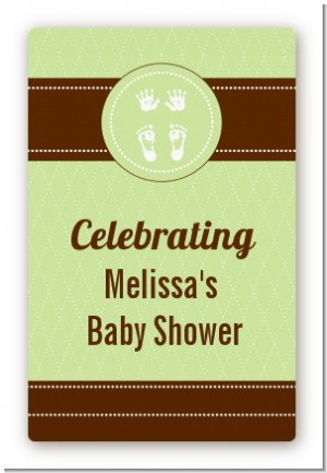 Baby Feet Pitter Patter Neutral - Custom Large Rectangle Baby Shower Sticker/Labels