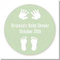 Baby Feet Pitter Patter Neutral - Round Personalized Baby Shower Sticker Labels