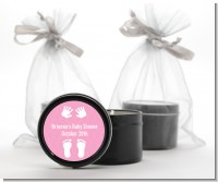 Baby Feet Pitter Patter Pink - Baby Shower Black Candle Tin Favors