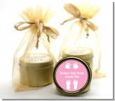 Baby Feet Pitter Patter Pink - Baby Shower Gold Tin Candle Favors