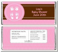 Baby Feet Pitter Patter Pink - Personalized Baby Shower Candy Bar Wrappers