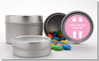 Baby Feet Pitter Patter Pink - Custom Baby Shower Favor Tins