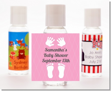Baby Feet Pitter Patter Pink - Personalized Baby Shower Hand Sanitizers Favors