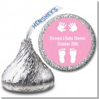 Baby Feet Pitter Patter Pink - Hershey Kiss Baby Shower Sticker Labels