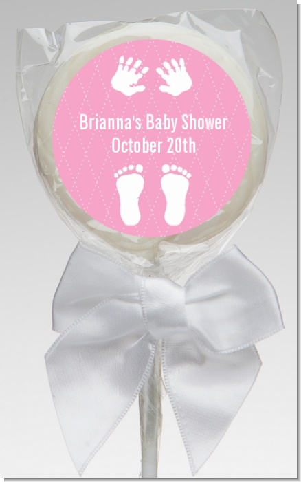 Baby Feet Pitter Patter Pink - Personalized Baby Shower Lollipop Favors