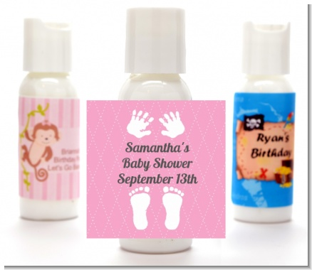 Baby Feet Pitter Patter Pink - Personalized Baby Shower Lotion Favors