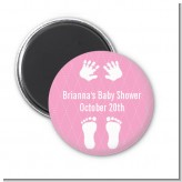 Baby Feet Pitter Patter Pink - Personalized Baby Shower Magnet Favors