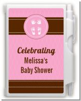 Baby Feet Pitter Patter Pink - Baby Shower Personalized Notebook Favor