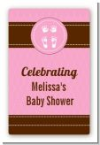 Baby Feet Pitter Patter Pink - Custom Large Rectangle Baby Shower Sticker/Labels