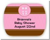 Baby Feet Pitter Patter Pink - Personalized Baby Shower Rounded Corner Stickers