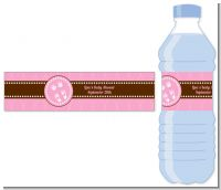 Baby Feet Pitter Patter Pink - Personalized Baby Shower Water Bottle Labels