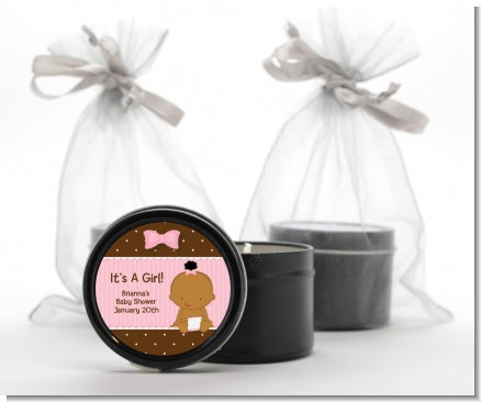 Baby Girl African American - Baby Shower Black Candle Tin Favors