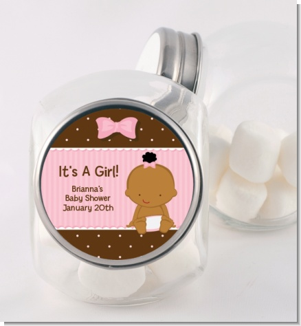 Baby Girl African American - Personalized Baby Shower Candy Jar