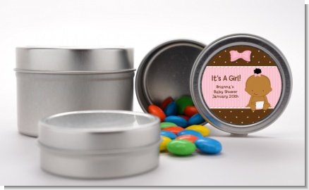 Baby Girl African American - Custom Baby Shower Favor Tins