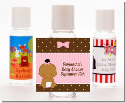 Baby Girl African American - Personalized Baby Shower Hand Sanitizers Favors