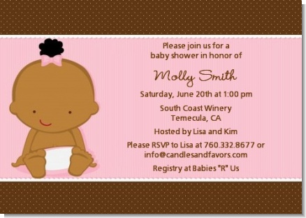 Baby Girl African American - Baby Shower Invitations