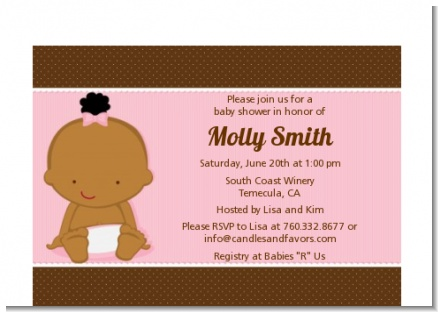 Baby Girl African American - Baby Shower Petite Invitations