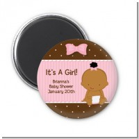 Baby Girl African American - Personalized Baby Shower Magnet Favors