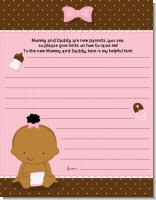 Baby Girl African American - Baby Shower Notes of Advice