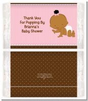 Baby Girl African American - Personalized Popcorn Wrapper Baby Shower Favors