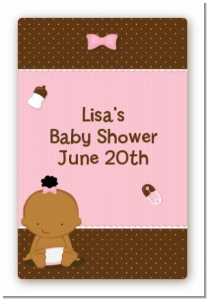 Baby Girl African American - Custom Large Rectangle Baby Shower Sticker/Labels