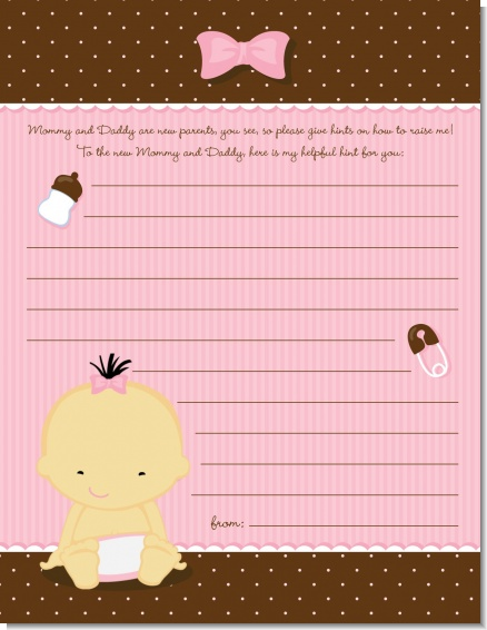 Baby Girl Asian - Baby Shower Notes of Advice