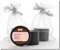 Baby Girl Caucasian - Baby Shower Black Candle Tin Favors