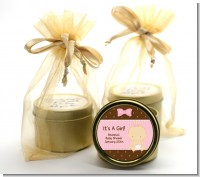 Baby Girl Caucasian - Baby Shower Gold Tin Candle Favors