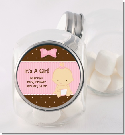Baby Girl Caucasian - Personalized Baby Shower Candy Jar