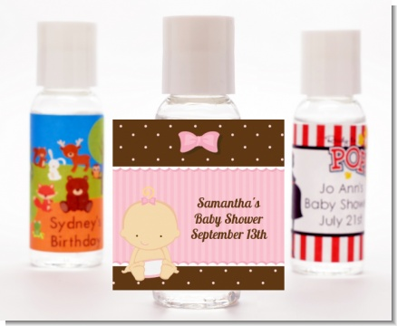 Baby Girl Caucasian - Personalized Baby Shower Hand Sanitizers Favors