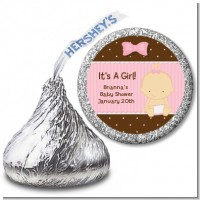 Baby Girl Caucasian - Hershey Kiss Baby Shower Sticker Labels
