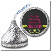 Baby Girl Chalk Inspired - Hershey Kiss Baby Shower Sticker Labels