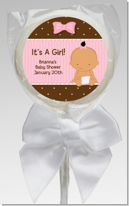 Baby Girl Hispanic - Personalized Baby Shower Lollipop Favors