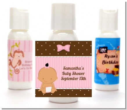 Baby Girl Hispanic - Personalized Baby Shower Lotion Favors