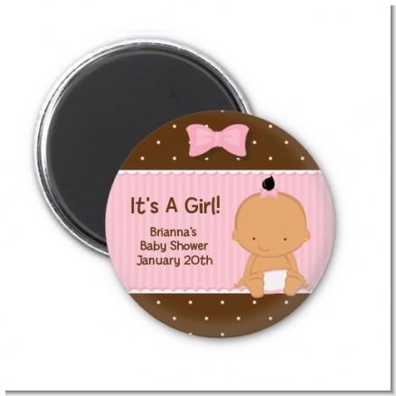 Baby Girl Hispanic - Personalized Baby Shower Magnet Favors