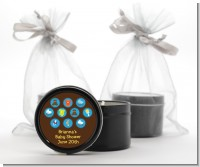 Baby Icons Blue - Baby Shower Black Candle Tin Favors