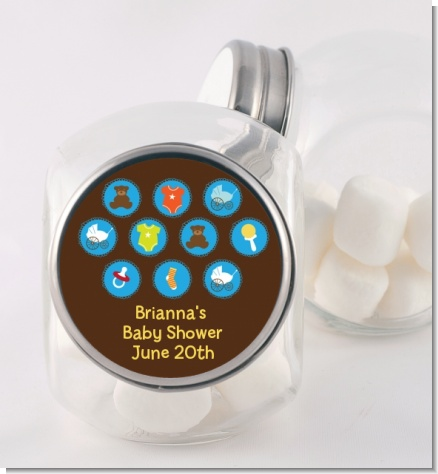 Baby Icons Blue - Personalized Baby Shower Candy Jar