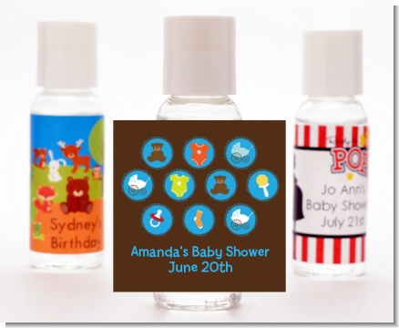 Baby Icons Blue - Personalized Baby Shower Hand Sanitizers Favors