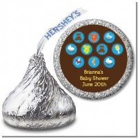 Baby Icons Blue - Hershey Kiss Baby Shower Sticker Labels