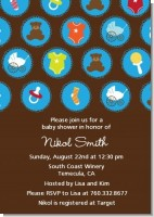 Baby Icons Blue - Baby Shower Invitations