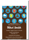 Baby Icons Blue - Baby Shower Petite Invitations
