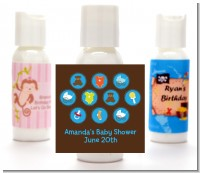 Baby Icons Blue - Personalized Baby Shower Lotion Favors
