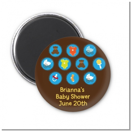 Baby Icons Blue - Personalized Baby Shower Magnet Favors