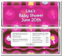 Baby Icons Pink - Personalized Baby Shower Candy Bar Wrappers