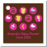 Baby Icons Pink - Personalized Baby Shower Card Stock Favor Tags