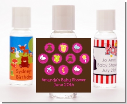 Baby Icons Pink - Personalized Baby Shower Hand Sanitizers Favors