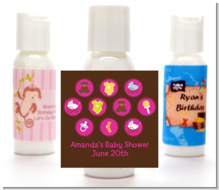 Baby Icons Pink - Personalized Baby Shower Lotion Favors